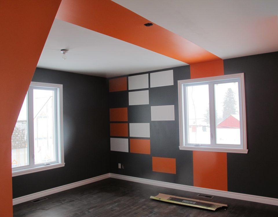 Finitions intérieures - peinture orange grise